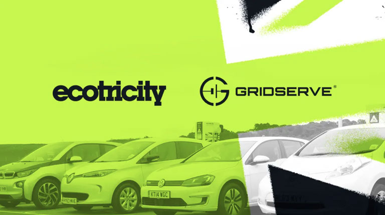 Green Britain flag with Ecotricity and Gridserve logos.