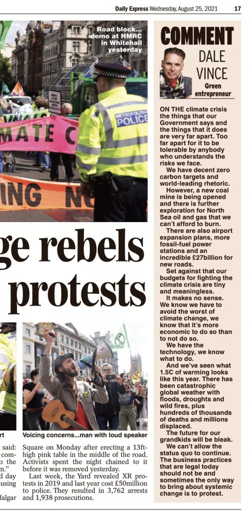 Dale Vince, op ed for the Express yesterday - on the subject of climate protests - sparked by what XR are doing in London.